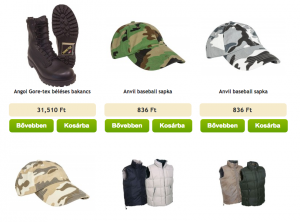 military ruházat webáruház